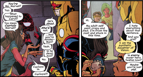 Miles Morales Spiderman and Kamala Khan Ms. Marvel explain to the original Nova how Carol Danvers is the current Captain Marvel, Peter Parker is still alive even though Morales is Spiderman, and that Cyclops is dead but his alternate timeline self is here.